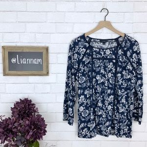 Lucky Brand Blue Flowered 3/4 Sleeve Peasant Top